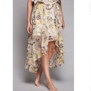Free People Boho High Low Floral Maxi Skirt Sz M